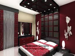 red small bedroom design with mirror tiles