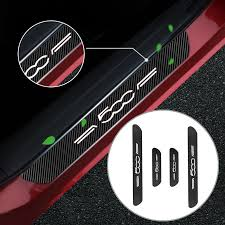 Auto Accessories For Fiat 500 Car Door Plate 4d Carbon Fiber Vinyl Stickers Look Car Sticker Sill Scuff Cover Decal 4pcs Nerf Bars Running Boards Aliexpress