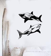 Vinyl Wall Decal Dangerous Ocean Sea Marine Animal Shark Stickers Mura Wallstickers4you