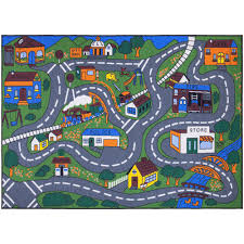 Ottomanson Jenny Collection Grey Road Traffic Design 5 Ft X 7 Ft Non Slip Kids Area Rug Jna370099 5x7 The Home Depot