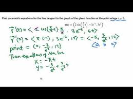 parametric equations of a tangent line