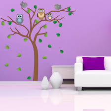 Tree With Owls And Birds Wall Sticker Style And Apply