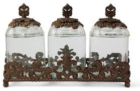 glass canister set with acanthus leaf