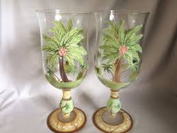 coconut palm tree hand painted wine