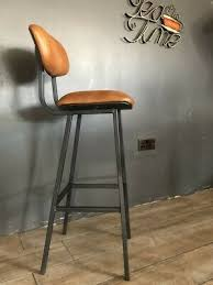 brown tan leather bar stool industrial