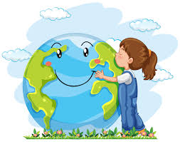A girl hugging the earth - Download Free Vectors, Clipart Graphics ...