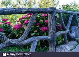 Beautiful With Purple Wood Fence Flowers For Decoration Design Summer Green Garden Flowers View Surface Design Home Garden Stock Photo Alamy