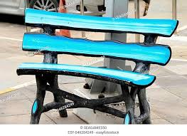 bench blue cushion stock photos and