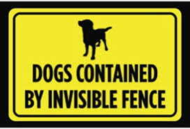 Amazon Com Dogs Contained By Invisible Fence Print Yellow Black Poster Symbol Picture Outside Outdoor Yard Notice Sign Office Products