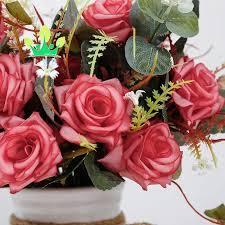 بوكيه ورد صناعي باقات مع سيراميك زهرية حرير الورد ورود زينة ل