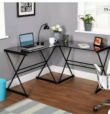 desk flat angle black metal legs