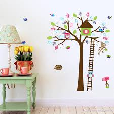 Cute Cartoon Owl Monkey Deer Colorful Tree Wall Decal Stickers Kids Room Nursery Playroom Home Decorative Wall Art Murals Wall Vinyl Wall Vinyl Decal From Magicforwall 5 17 Dhgate Com