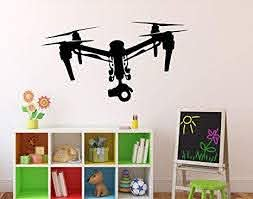Amazon Com Drone With Camera Wall Vinyl Decal Air Quadcopter Wall Sticker Aircraft Home Wall Art Decor Ideas Interior Removable Kids Room Design 6 Drn Toys Games
