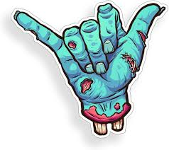 Amazon Com Zombie Hang Loose Sticker Car Truck Shaka Hand Sign Symbol Window Bumper Vinyl Decal Everything Else