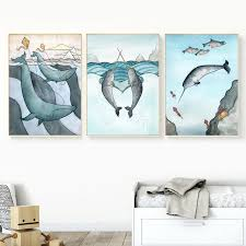 Mermaid Shark Whale Pictures Nursery Kids Room Decor Modern Fashion Wall Art Canvas Painting Cartoon Nordic Posters And Prints Painting Calligraphy Aliexpress