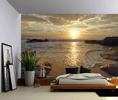 Custom 3d Photo Wallpaper Sunrise Sea Ocean Wave Sunset Beach Wall Poster Wall Stickers Home Decor Vinyl Removable Decor Wallpapers Aliexpress