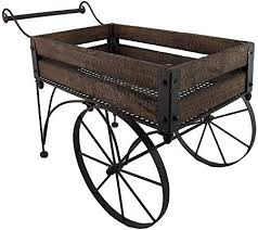 rustic wood and metal 2 wheeled wagon