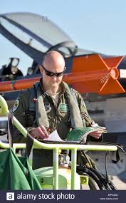 U.S. Air Force Capt. Seth Murray, a pilot assigned to the 180th Fighter  Wing, Ohio Air National Guard, reviews critical information and maintenance  notes about the F-16 Fighting Falcon during a training