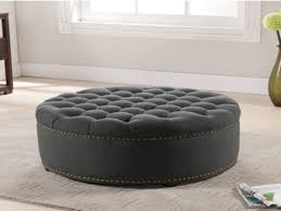 top large tufted ottoman round leather