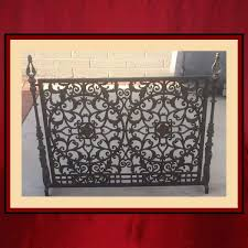 vintage cast iron fireplace screen