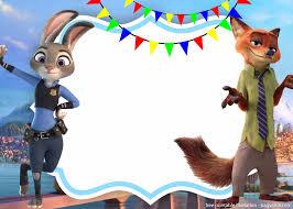 Free Zootopia Nick And Judy Invitation Template Tarjetas De