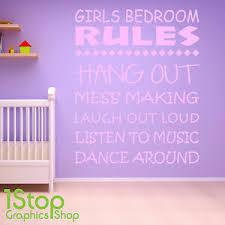 Girls Bedroom Rules Wall Sticker Quote Girls Nursery Wall Art Decal X386 Ebay