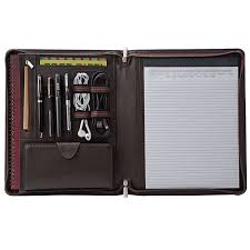 zippered leather portfolio organizer
