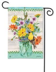 goldfinch on jar garden flag
