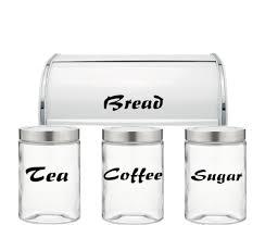 Tea Coffee Sugar Bread Jar Vinyl Decals Stickers Kitchen Set Of 4 Decals Jars Bread Bin Not Included Pcg067