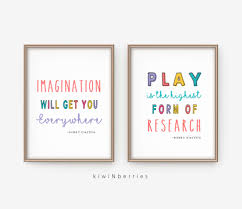 Play Is The Highest Form Of Research Playroom Decor Kids Wall Art Einstein Quotes Printable Playroom Prints Nursery Quotes Einstein Prints Playroom Wall Art Kiwinberries