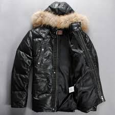 down filled leather bubble jacket