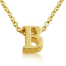 gold plated necklace initial letter b