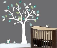 Nursery White Tree Wall Decal Blue Grey Idealpin
