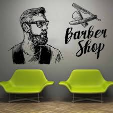 Wall Window Decal Sticker Barber Shop Man Salon Haircut Beard Face Tools Logo Salon Vinyl Decal Hipster Barbershop Deco Ba24 Wall Stickers Aliexpress