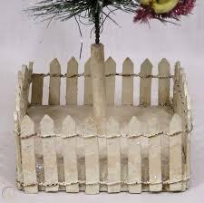 Vintage Christmas Lge Decorated Bottle Brush Tree On Picket Fence Base 1950s 1861026489