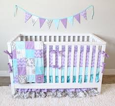 custom baby bedding aqua purple and