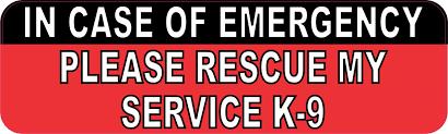 10in X 3in Please Rescue My Service K9 Vinyl Bumper Sticker Car Window Decal Stickertalk