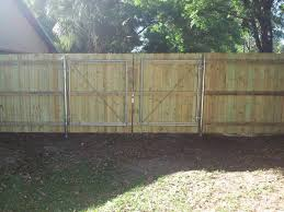 Privacy Wooden Fence With Double Gate Hercules Fence Company