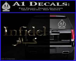 Infidel Decal Sticker Arabic English A1 Decals