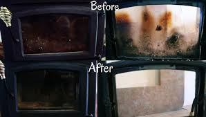 how to clean fireplace glass step by