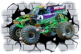 Moster Truck Murals On Builtings Huge 3d Grave Digger Monster Truck Through Wall View Wall Wall Stickers Murals Monster Trucks Wallpaper Rolls