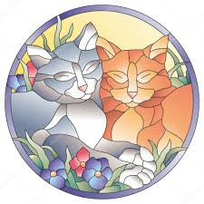 stained glass window cats