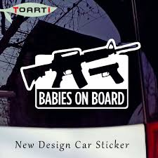 Baby On Board Auto Sticker Waroming Mark Sign Funny Pro Gun Decal For Window Car Laptop Removable Car Styling Decal Art Design Baby On Board On Boardbaby On Board Sticker Aliexpress