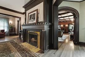 fireplace with wood trim
