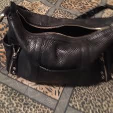 vintage authentic black leather handbag
