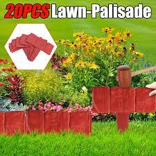 20 Pcs Decorative Garden Fence Plastic Cobbled Stone Effect Garden Edging Hammer In Lawn Edging Plant Border Walmart Canada