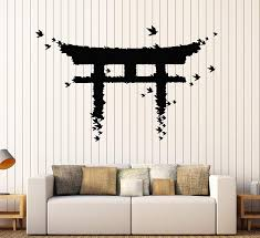 Amazon Com Vinyl Wall Decal Japan Gate Birds Japanese Art Asian Stickers Large Decor Ig3880 Black Home Kitchen