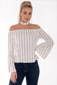 Abby White Off The Shoulder Striped Flute Sleeve Top | Clothes ...