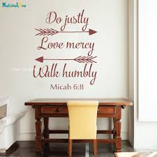 Bible Verse Wall Decal Do Justly Love Mercy And Walk Humbly Micah 6 8 Arrowsinspirational Religious Saying Murals Quote Yt1303 Wall Stickers Aliexpress