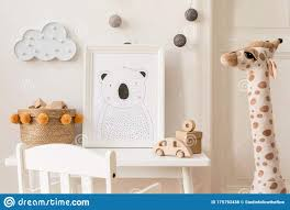 Cute Interior Of Kid Room With Baby Accessories Toys And Poster Frame Stock Photo Image Of Children Cupboard 175793438